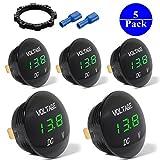 5-PACK DC 12V-27V LED Panel Digital Voltage Meter Display Voltmeter For Automotive Car Motorbike Boat ATV UTV Camper Caravans Travel Trailer GREEN
