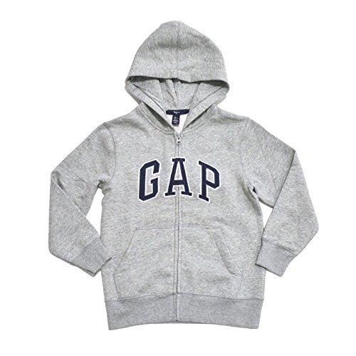 (GAP Boys Fleece Arch Logo Zip Up Hoodie (Gray, Medium))