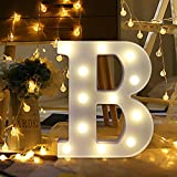 Gotian 26 Letters Alphabet Letter Lights, Lighting up Words, Warm White LED Light Sign A-Z Lamp DIY Romantic Night Party Holiday Birthday Wall Hanging Home Wedding Decor with Remote Control (B)