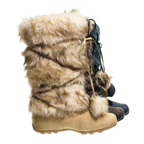 Tara Camel Sued Mukluk Wrap Around Mid Calf Faux Fur Boots , Women Winter Snow Boot -10