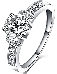 Womens Jewelry Classic Wedding Engagement Bands Solitaire Promise Rings for Her - 18K White Gold Plated - Luxurious FR970