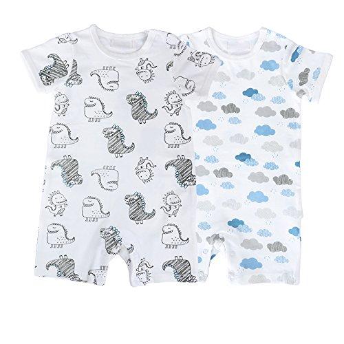 Baby Boys Girls Bodysuit Short Sleeves Infant Toddler Cotton Rompers Pack of 2 Boys Short Sleeve Romper