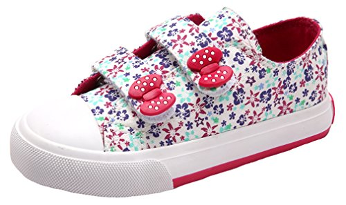Pointss Girls' Flowers Low Top Board Shoes Magic Stick Canva