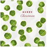 Talking Tables Botanical Christmas Sprout 33cm Christmas Paper Napkins, White & Green, 33 cm, Pack of 20