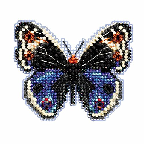Blue Pansy Butterfly Beaded Counted Cross Stitch Ornament Kit Mill Hill 2017 Spring Bouquet (Beaded Butterflies Kit)