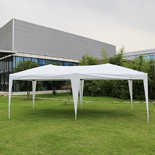 Kinbor 10'x20' Canopy Wedding Party Tent Heavy Duty Outdoor Gazebo White/Blue (10x20 White Party Tent Gazebo)
