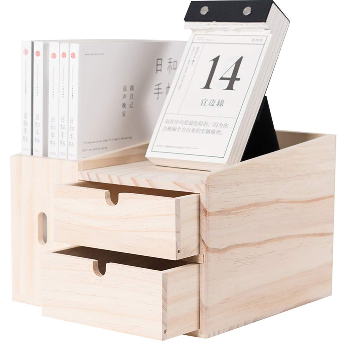 曲阜市德峰便民冷饮超市 デスクトップ収納デスク引き出し収納ボックステーブル多機能クリエイティブ本棚 (色 : Wood) B07S1N7RLW Wood