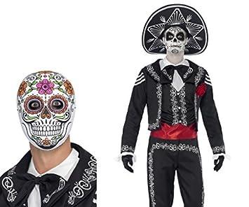 90353e0e1e Mens Day Of The Dead Senor Bones Halloween Costume Plus FREE Senor Bones  Mask Size XL