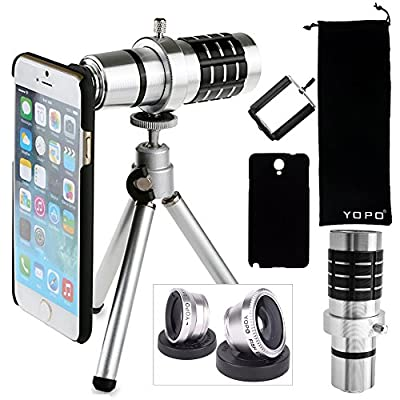 YOPO iPhone 6s/ 6s Plus / 6 plus / 6 Camera Lens Kit-12x Telephoto Manual Focus Lens + Fish Eye Lens + 2 in 1 Macro & Wide Angle Lens - Awesome Photography Accessories -1 Year Warranty (Silvery)
