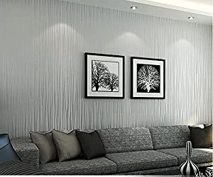 Hanmero non woven classic flocking plain stripe modern for Grey silver wallpaper living room