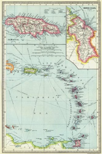 Amazoncom WEST INDIES Lesser Antilles Maps Of Jamaica Guyana - Vintage map of jamaica