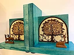 Handmade and Handcrafted Historically Inspired Bookends With Gazelles And Woodburned Tree Design By The Arabesque Inspired From The Medieval Umayyad Palace Of Khirbat al-Majfar