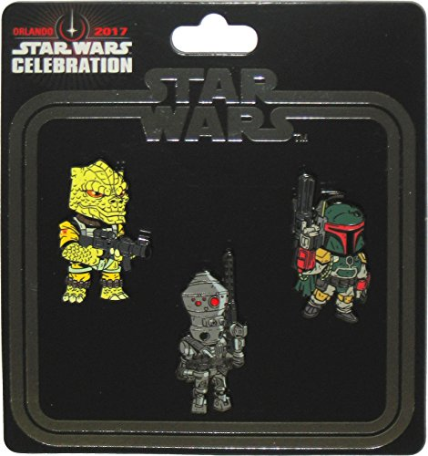 Star Wars Celebration 2017 Orlando Exclusive Bounty Hunters Boba Fett / Bossk / IG-88 Set of 3 Enameled Metal Cloisonné Pins