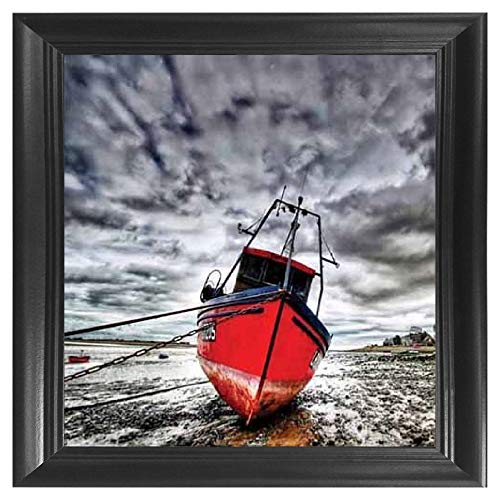 Red Boat 5D / 3D Poster Wall Art Decor Framed Print | 18.5x18.5 | Lenticular Posters & Pictures | Memorabilia Gifts for Guys & Girls Bedroom | Rustic Modern Black ()