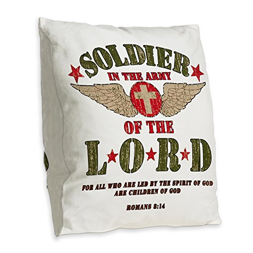(Burlap Throw Pillow Soldier in the Army of the Lord)