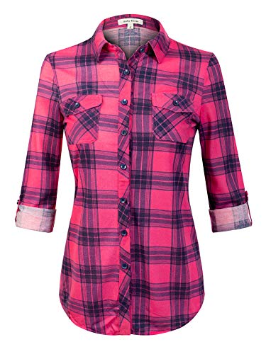 (Design by Olivia Women's Checkered Plaid Roll Up Sleeve Stretch Knit Button Down Shirt #3 Pink S)