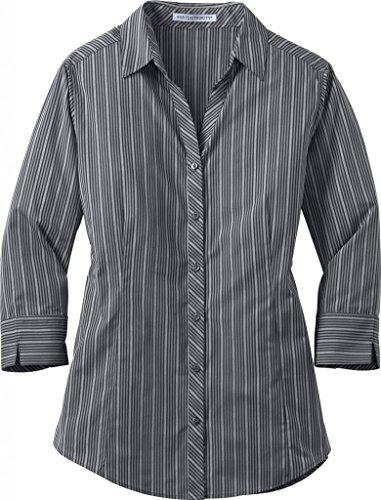 Port Authority Ladies Vertical Stripe 3/4 Sleeve Easy Care-XL (Grey Stripe)