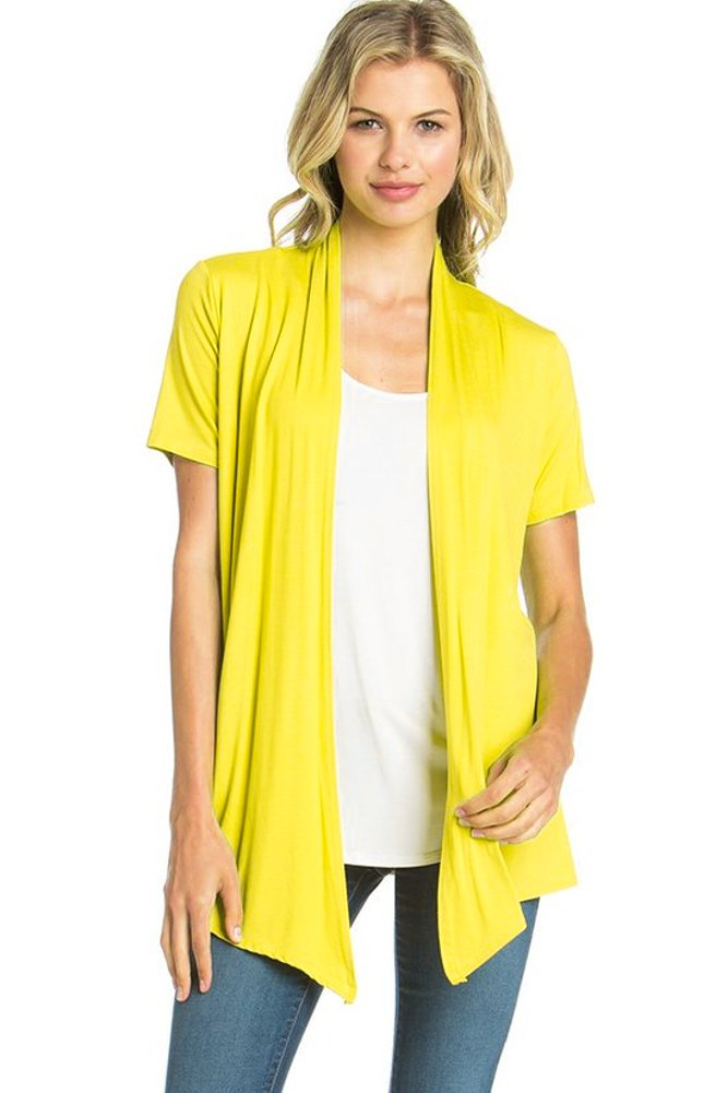 12 Ami Basic Solid Short Sleeve Open Front Cardigan Bright Yellow 3X