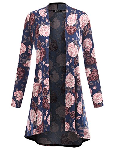 BH B.I.L.Y USA Women's Open Front High-Low Long Sleeve Floral Print Cardigan 61039 Navy XX-Large