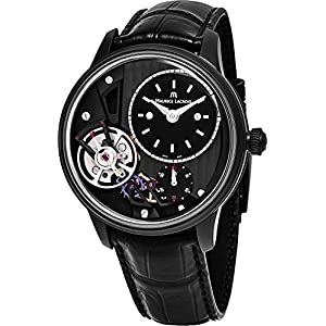 Maurice Lacroix Masterpiece Gravity Watch - Black Open Dial 43mm Maurice Lacroix Watch Mens - Black Leather Band Swiss Automatic Watch MP6118-PVB01-330-1