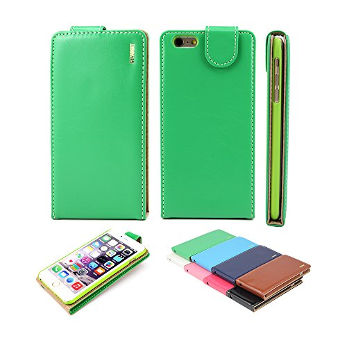 Excellente Meilleur Iphone 6 (4,7 pouces) de Vert Housse en cuir flip avec deux emplacement de carte pour Apple Iphone 6 (4,7 pouces)
