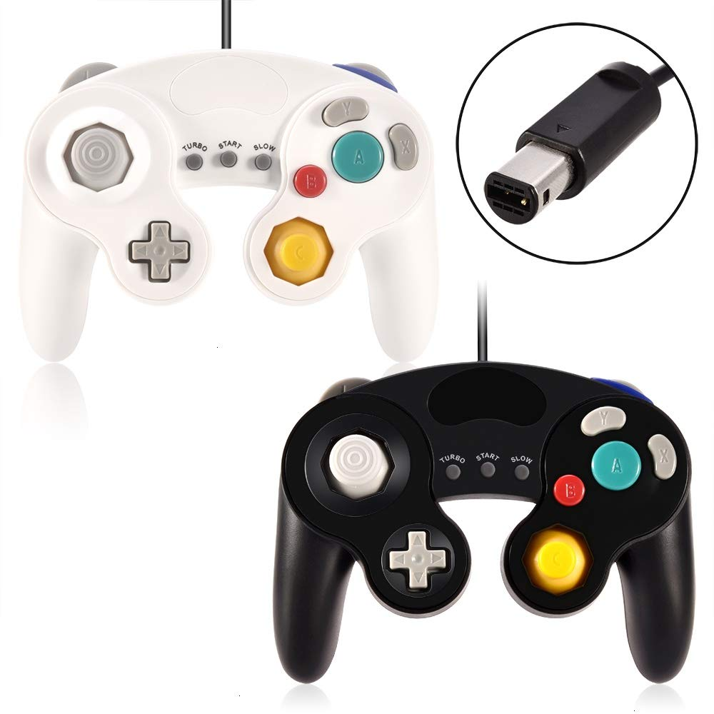 VOYEE Gamecube Controller,2 Packs Wired Gamepad Controller Compatible for Nintendo Gamecube Wii U PC Switch Wii with Turbo and Slow Function (White & Black)