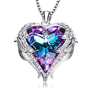 NEWNOVE Heart of Ocean Pendant Necklaces for Women Made with Swarovski Crystals (Purple Swarovski Crystals)
