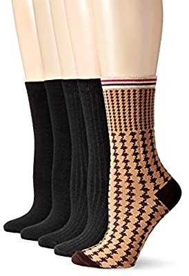 Anne Klein Women's Lovely Lady Patterned Crew Socks 5-Pack
