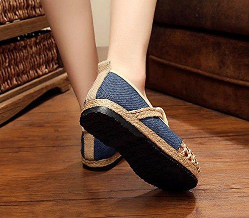 Único Escarpines de MISSMAOM Azul Diseño Zapatos de Mujer Oscuro Empalme Cordones YnnxR5A