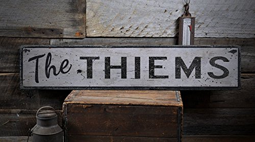 The THIEMS - Custom THIEM Last Name Distressed Wooden Sign - 7.25 x 36 Inches