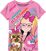 JoJo Siwa Inspired Fashion T-Shirt Printed All Over Cream Tee, Purple and Pink Bow Bow Tee for Girls