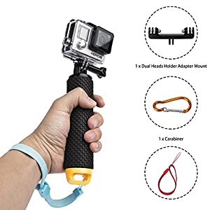 Handler floating hand grip, Agemore Waterproof Floating Handler for Gopro Hero4 Session/hero4/3+/3/2/1. The Handle Mount Accessories Kit & Diving Stick Monopod Sport Pole for Action Camera