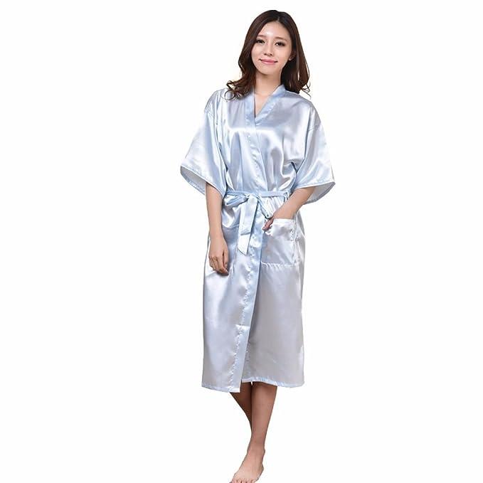 GSHGA Hombres Y Mujeres Parejas Pijamas Batas De Color Puro Batas De Seda De Imitación De