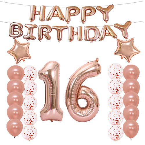 16th Birthday Decorations Party Supplies,16th Birthday Balloons Rose Gold,Number 16 Mylar Balloon,Latex Balloon Decoration,Great Sweet 16th Birthday Gifts for Girls,Photo Props