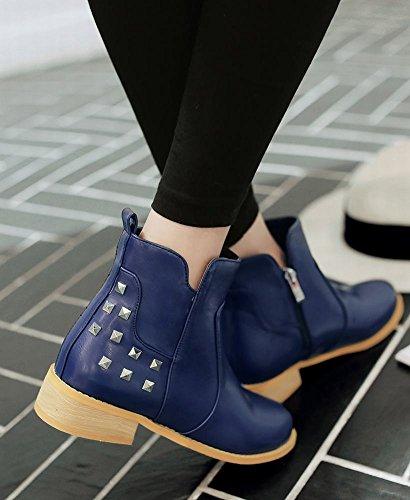 Mee Shoes Damen chunky heels Nieten kurzschaft Reißverschluss Ankle Boots Blau