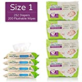 Happy Little Camper Ultra Absorbent Hypoallergenic Natural Diapers, Size 1 (<14 lbs), 252 Count, Safe Flushable Wipes, 200 Count, Monthly Supply Combo Bulk Pack