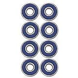 eBoot 8 Pack 608 2RS Bearings Skateboard Bearings Longboard Bearings Roller Skate Bearings 608 Ball bearings for EDC Spinner Fidget Toy, Double Shielded, Blue