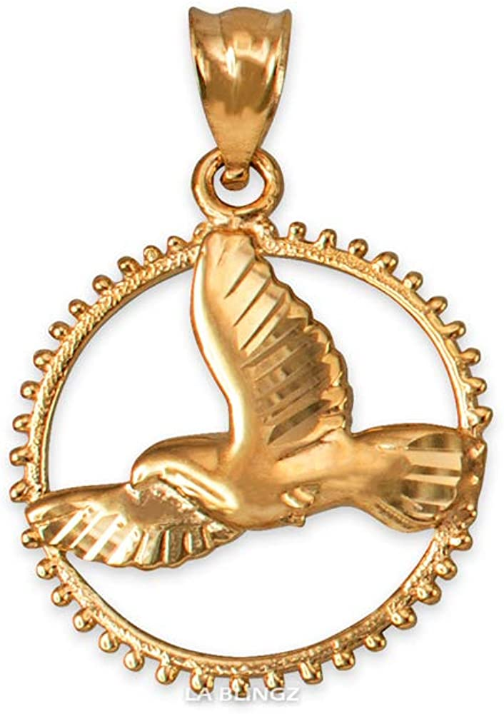 LA BLINGZ 10K Yellow Gold Flying Dove of Peace Round Rotary Charm Necklace