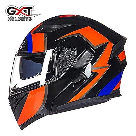 DOT Men Approved Motorcycle Helmet Safe Double Flip Up Visor Helmet Safe US