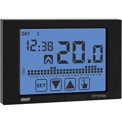 Termostato Reloj pantalla táctil programa semanal batería operativos pared ve452900 Chronos Negro
