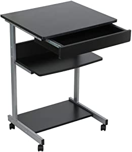 go2buy Compact Rolling Laptop Computer Cart Desk/Table with Drawer and Shelf for Small Spaces Furniture