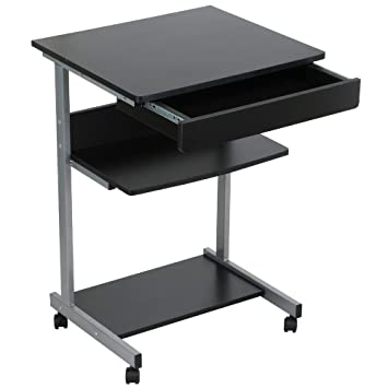 Amazon.com : Go2buy Compact Rolling Laptop Computer Cart Desk/Table With  Drawer And Shelf For Small Spaces Furniture : Office Products