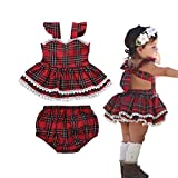 Infant Baby Girl Sling Dresses Outfits Xmas Skirt Tutu Backless Red Straps Plaid Dress +Shorts Bottom 2 Pcs Set (2-3 Years, Red Plaid 2 Layers Dress+Bottom)