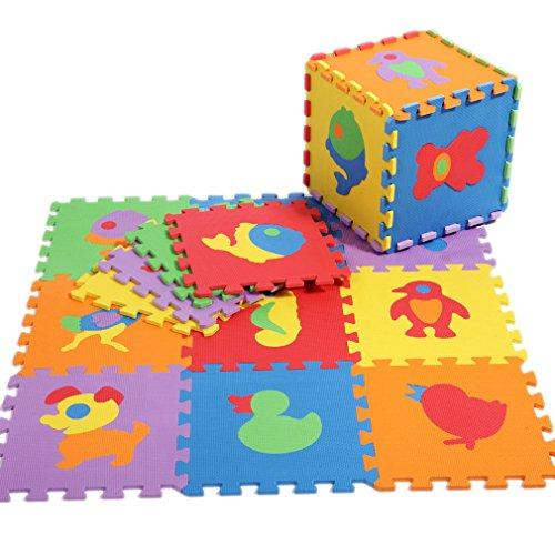 Y-BOA Lot de 10Pcs Tapis de Sol Puzzle Animaux En Mousse Anti-dérapant Decoration Antichoc Jeu Apprendre Imagination Pour Bébé Taille 30*30*1CM