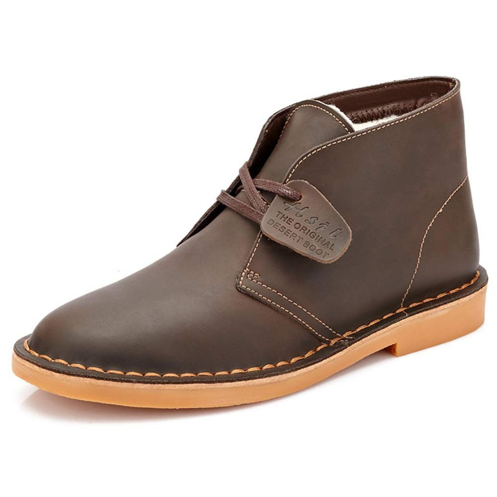 Jincosua Mens Classic Chukka Stiefel Weiche Sohle Rutschfeste Echtleder Casual Ankel Stiefel (Farbe   Khaki, Größe   EU 42)