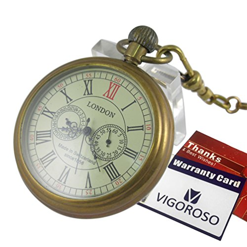 VIGOROSO Men's Vintage Full Copper Hand-wind Mechanical Second&24hours Sub-dials Pocket Watch in box by VIGOROSO (Image #5)