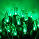 Green LED Christmas Mini Light Set, 50 T5 Traditional Style Lights, Indoor/Outdoor Christmas Light Decorations, 120V UL Certified, Green Wire