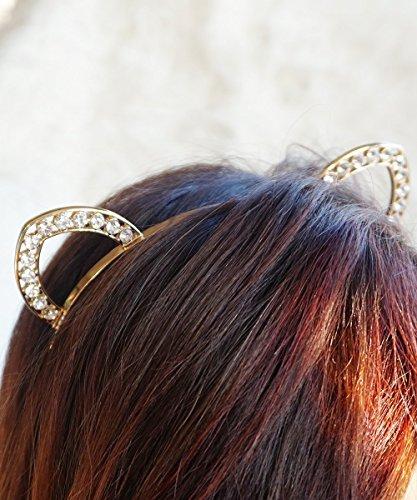 Gold Crystal Cat Ears Headband, Kitty Cat Ears Headband, Rav