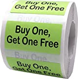 Hot Green with Black Buy One, Get One Free Rectangle Stickers, 3/4 x 1.5 Inches in Size, 500 Labels on a Roll