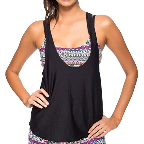 Next by Athena Women's Find Your Chi Multi Task Tankini with Remsoft Cup Sport Bra, Black, 36BC